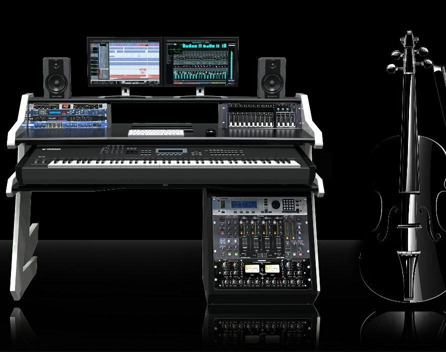 Music Commander Desk Black Studio Desk Workstation Furniture