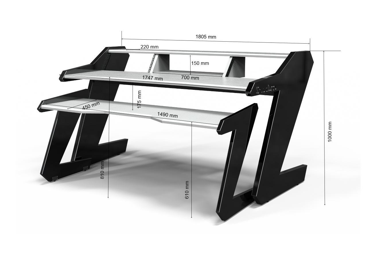 Music Commander Desk White Studio Desk Workstation Furniture