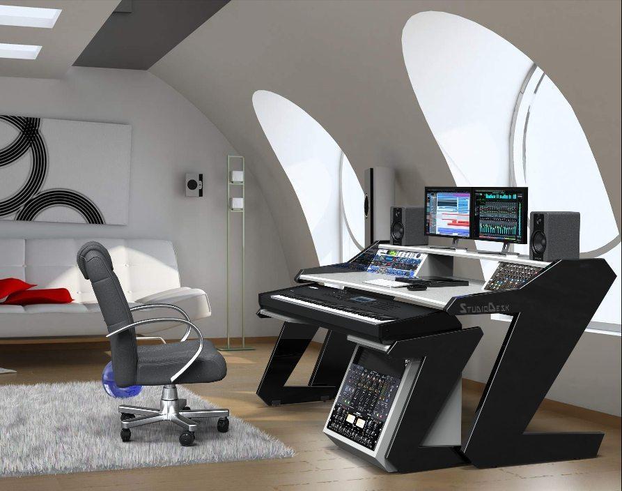 Music mander Full Set White Studio Desk Workstation