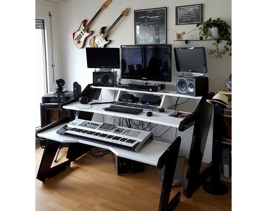 Music Commander Full Set White Studio Desk Workstation Furniture