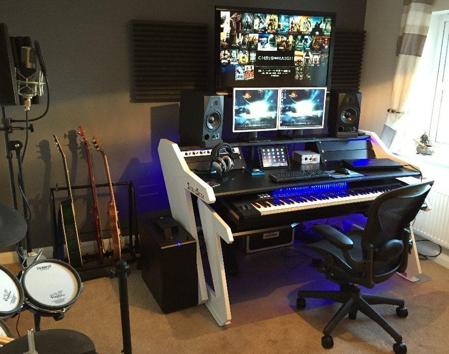 Music Commander Desk Black Studio Desk Workstation Furniture